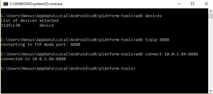 Android ADB Setting to use Mobile Device as Emulator Without USB